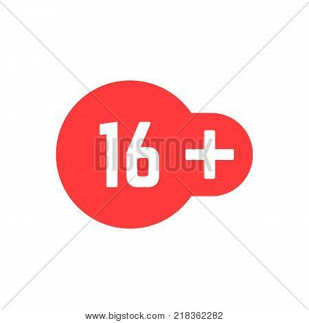 simple 16 plus red icon. concept of ui emblem, unusual ban symbol, censure, adult permit, x-rated, age limit mark. flat style trend modern logotype graphic stamp badge design on white background