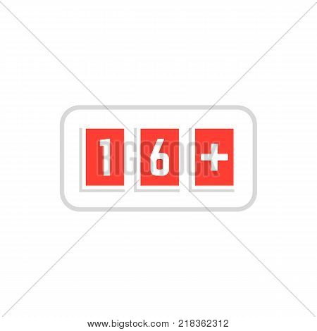 red simple 16 plus icon scoreboard. concept of ui emblem, unusual ban symbol censure or adult permit. flat style x-rated age limit mark logotype graphic stamp badge design on white background