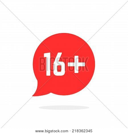 red speech bubble like 16 plus. flat style ui emblem logotype graphic stamp badge design on white background. concept of unusual ban symbol, censure, adult permit and x-rated age limit mark