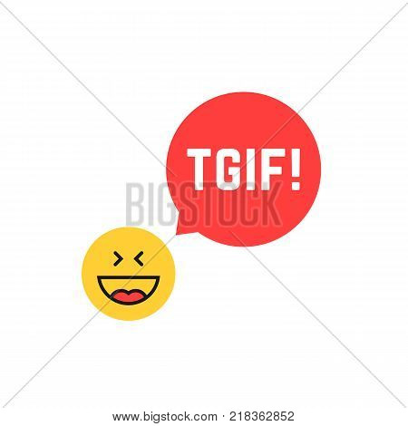 emoji tgif logo like thank god it is friday. flat style satisfied smile chat symbol logotype graphic art design. concept of booze spree, night party, facial joke or joyful isolated on white background