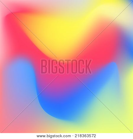 Iridescent colorful background, vibrant liquid foggy shapes