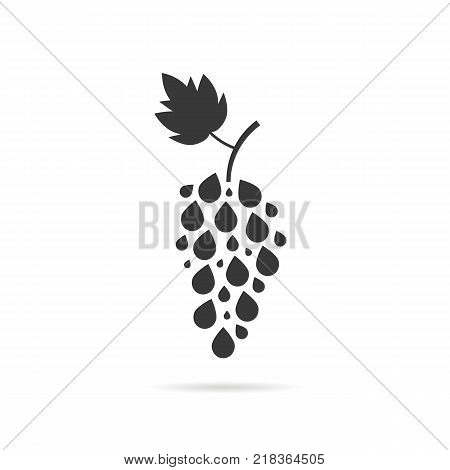 simple black grape icon on white background. concept of abstract vineyard emblem, yummy and tasty natural product, modern logo template of viticulture or label of autumn harvesting on farm