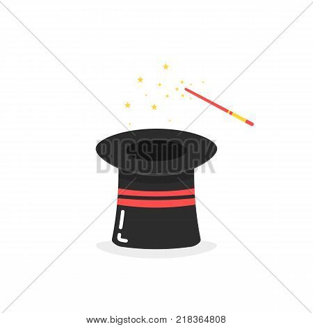 black inverted magic hat icon on white background. idea of fun celebration with magical performance and stunt with delusion or creative representation on birthday party for little kids