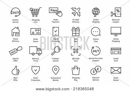 simple set of black thin line ecommerce icon. concept of personal choice on website of web store or m-commerce sign. stroke style modern logo template and graphic linear art design isolated on white