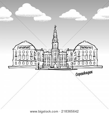 Copenhagen, Denmark famous landmark sketch. Lineart drawing by hand. Greeting card icon with title, vector illustration