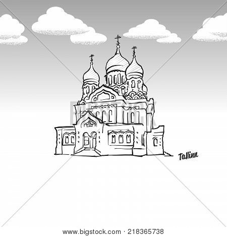 Tallinn, Estonia famous landmark sketch. Lineart drawing by hand. Greeting card icon with title, vector illustration
