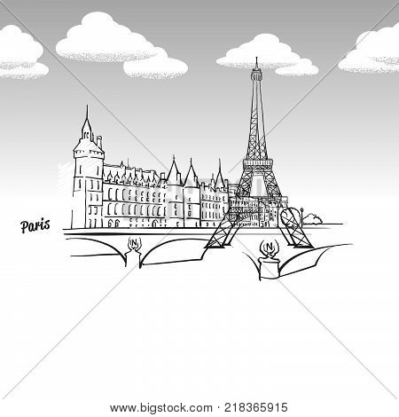 Paris, France famous landmark sketch. Lineart drawing by hand. Greeting card icon with title, vector illustration