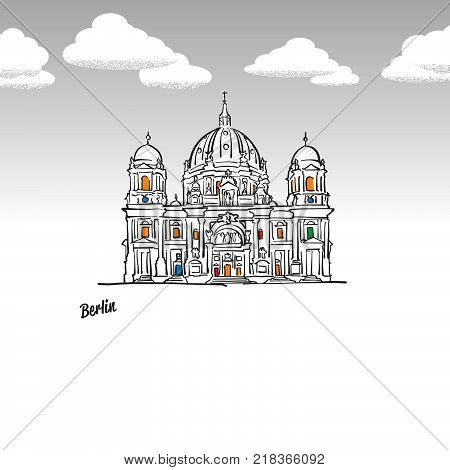 Berlin, Germany famous landmark sketch. Lineart drawing by hand. Greeting card icon with title, vector illustration