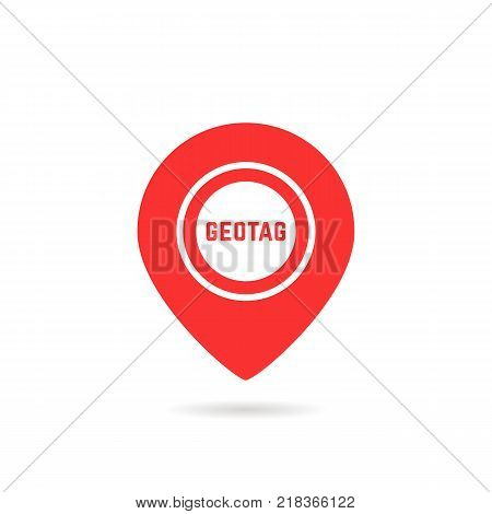 simple red geotag logo or map pin icon. concept of of finding the right place and abstract finder sign for tourism. flat style trend modern logotype graphic brand design isolated on white with shadow