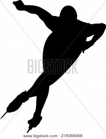 vector illustration athlete speed skater black silhouette
