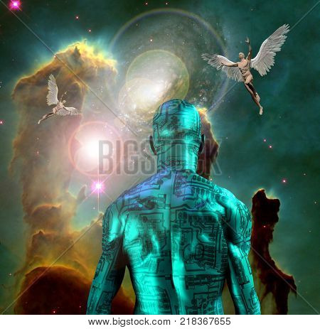 Surrealism. Naked man with electric circuit pattern on his skin stands before horse nebula in deep space. Naked men with wings represents angels. 3D rendering. Some elements provided courtesy of NASA