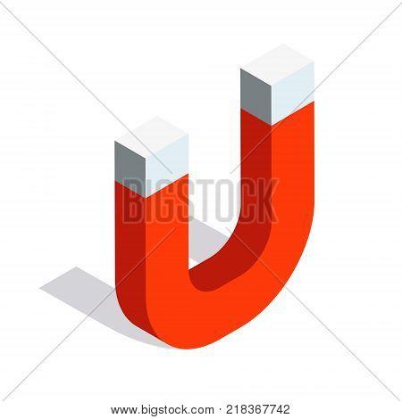 Horseshoe magnet isometric vector icon design. Electromagnet 3d symbol illustration. Magnetic lodestone equipment sign.
