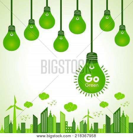 Save Nature and ecology concept with eco cityscape stock vector