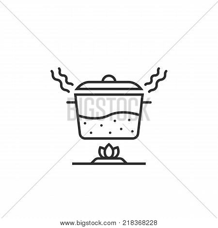 simple black thin line pan with steam icon on white. flat stroke style unusual modern logotype graphic art design. concept of boil water in dishware like cooking stage and stainless casserole sign