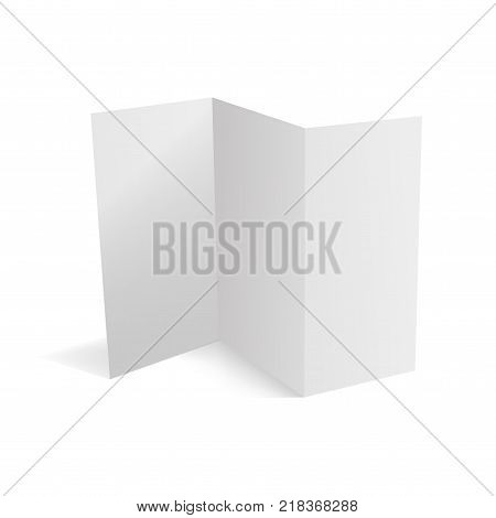 Trifold white template paper. Vector illustration icon