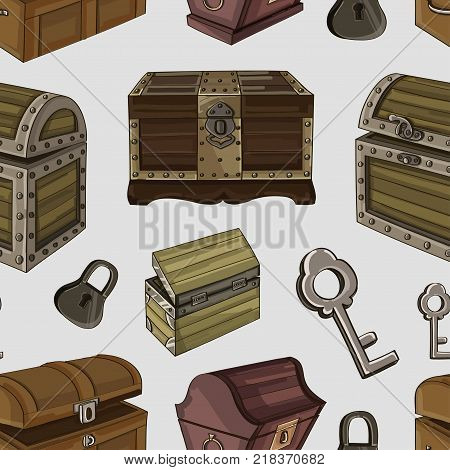 Set of wooden chests pattern. Open empty chest, full of gold chest and closed with lock chest. Vector illustration, EPS 10