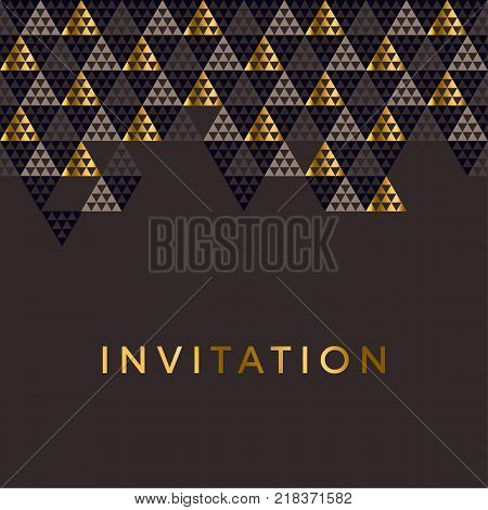 Geometry gold header vector illustration. Concept triangle geometric pattern on black background for card, invitation, header print and web design.