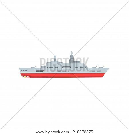 Military steam ship with artillery and radar. Battle warship icon. Navy armored boat. Cartoon flat vector illustration isolated on white background. Graphic design for logo, website or mobile game.