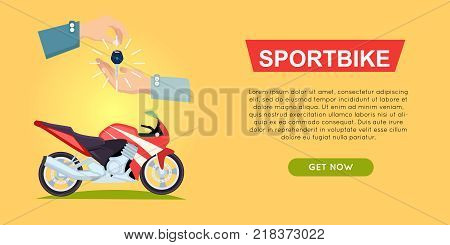 Buying sportbike online bike sale web banner vector illustration. Encouraging people to buy bike. Transport advertising company, e-commerce concept. Business agreement of getting new keys of truck.