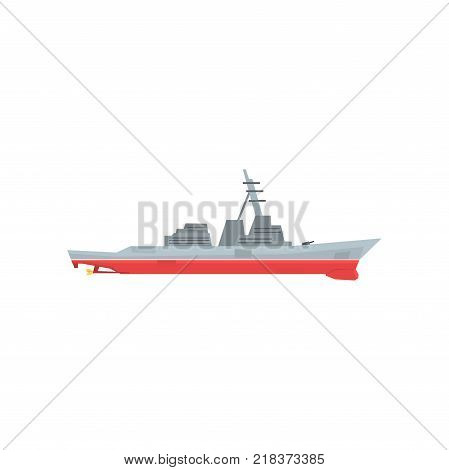 Navy battleship icon. Military ship with large-caliber artillery. Colored marine vehicle. Graphic flat design for sticker, poster, website, mobile game. Colorful vector illustration isolated on white.