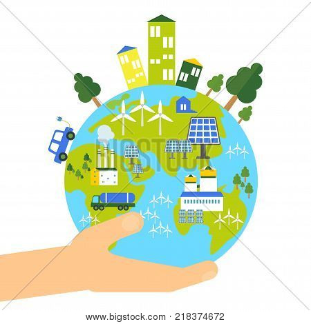 Save Earth Flat Vector Photo Free Trial Bigstock