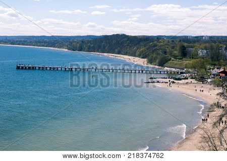 Panorama of the wooden pier Orlowo, Poland
