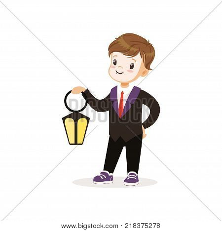 Little boy dressed as a dracula, cute kid in halloween costume vector Illustration on a white background
