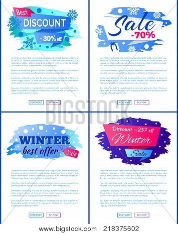 Big winter discount - 30 off new offer -25 only today -70 total final sale set of labels with snowflakes snowballs vector illustration web posters