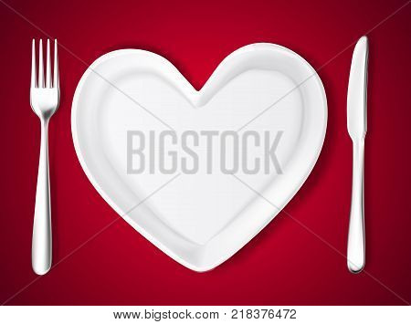Realistic plate in shape of heart, knife, fork. Valentine's day romantic kitchenware, love and care symbol. Ceramic utensil for holiday evening celebration. Vector illustraiton on dark red background