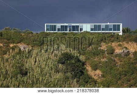 Gazebo Torch, famous landmark in Vitoria Beach Resort on Terceira Island, Azores Archipelago, Portugal, Europe