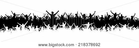 Cheering fans sports silhouette crowd. Party people vector. Applause concert disco. Poster Event banner background isolated.