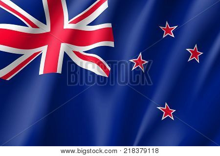 Flag New Zealand national flag. Patriotic symbol in official country colors. Illustration of Oceania state flag. Vector relistic icon