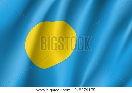 Republic Palau national flag. Patriotic symbol in official country colors. Illustration of Oceania state flag. Vector realistic icon