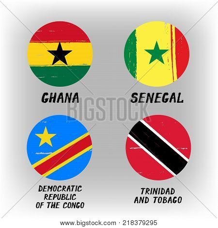 Set Of 4 Flags - Round Icons - Ghana Senegal Democratic Republic Of The Congo Trinidad And Tobago