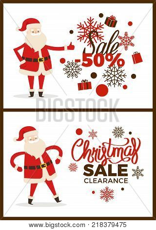 Christmas sale clearance poster with Santa Claus on white background. Vector illustration with discount advert decorated by snowflakes and gift boxes