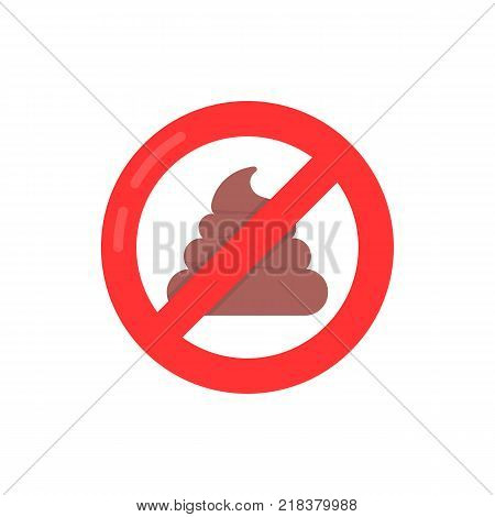 red simple no shit sign isolated on white. concept of not defecating badge in city park or street or discipline regulation for pet owners. flat style modern logotype or trend graphic art design