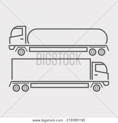 Truck icon, tanker and semitrailer on a light background. Vector illustration.