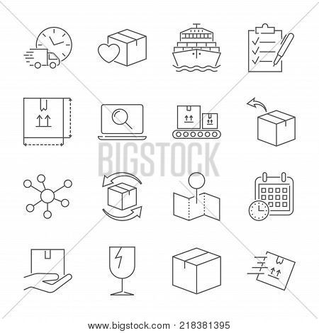 Parcel delivery service icon set. Fast delivery and quality service transportation. Shipping vector icons for logistic company. Editable Stroke. EPS 10