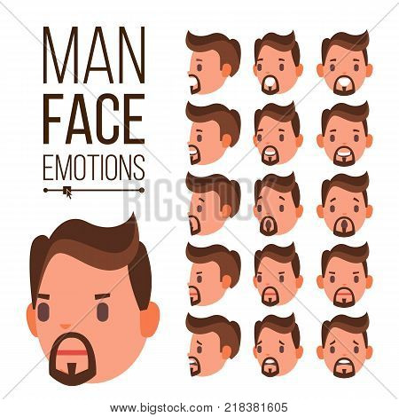 Man Emotions Vector. Handsome Face Man. Cute, Joy, Laughter, Sorrow. Human Psychological Portraits. Isolated Flat Cartoon Illustration