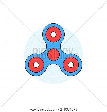 blue linear hand fidget spinner on white background. flat style trend logotype graphic art design. concept of best thing for hyperactivity child and very popular toy gadget for kids