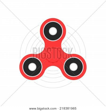red hand spinner or fidget toy. flat style trend modern logotype graphic design isolated on white. concept of very popular thing gadget for kids and best for hyperactivity child