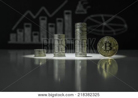 Stacks of crypto currency and gold bitcoin on the background of charts of crypto currency
