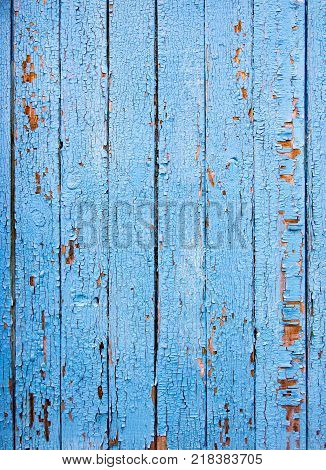 old wooden boards painted with blue paint as background