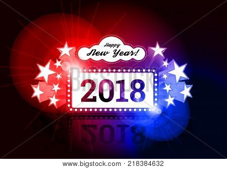 New Year marquee 2018. Vector illustration on black. Effect of a two-color gradient split tonning