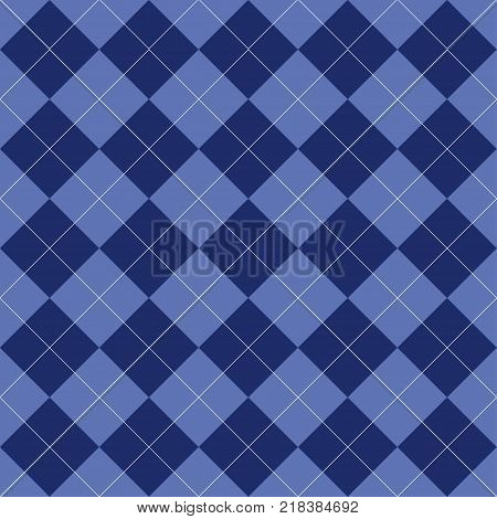 Seamless argyle pattern. Rhombus of blue color. Texture for plaid, tablecloths, clothes, shirts, dresses, bedding, sweater, socks and other textile products. Vector illustration.
