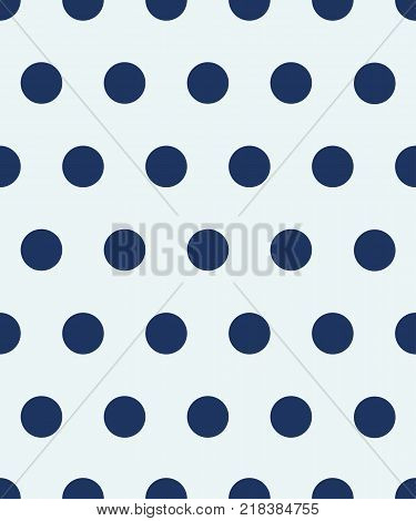 Polka dot seamless pattern. The blue circles on a white background. Texture for plaid, tablecloths, clothes, shirts, dresses, paper, bedding, wallpaper and other textile products. Vector illustration.