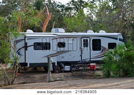 Camping trailer at campground site Florida, USA