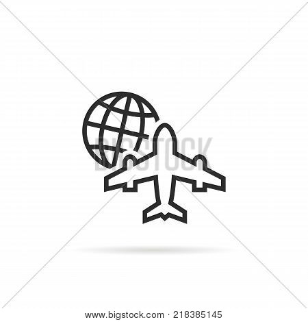 black thin line worldwide global air transportation. concept of delivery of goods by airplane or holiday. stroke simple flat style trend modern logotype graphic art design isolated on white background
