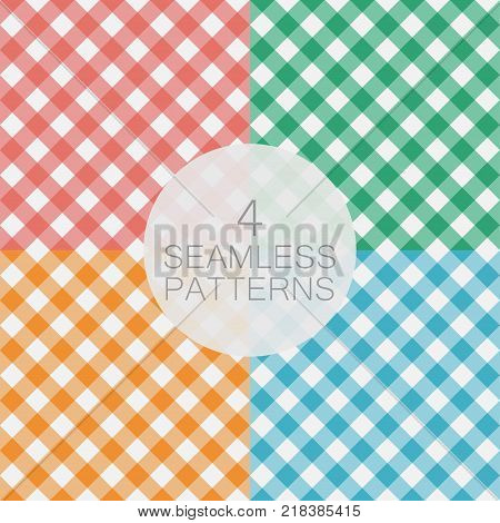 Set of Gingham seamless pattern. Diagonal stripes, texture for - plaid, tablecloths, clothes, shirts, dresses, paper, bedding, blankets, quilts and other textile products. Vector illustration.