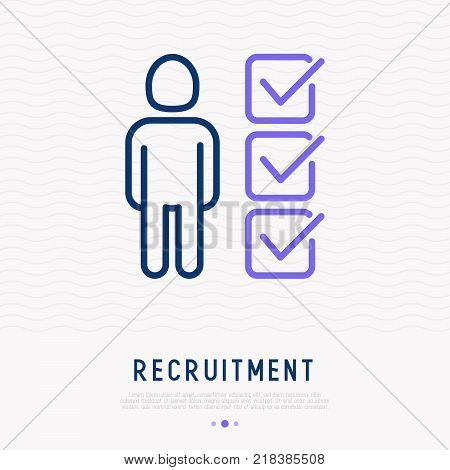 Candidate searching thin line icon. Modern vector illustration of recruitment or employee selection.